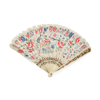 Lot 2 - CARVED BONE AND FEATHER FAN