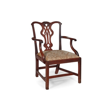 Lot 87 - GEORGE III MAHOGANY OPEN ARMCHAIR, IN THE CHIPPENDALE MANNER