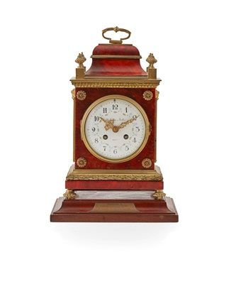 Lot 486 - FRENCH TORTOISESHELL AND GILT METAL MOUNTED BRACKET CLOCK, RETAILED BY HAMILTON & INCHES