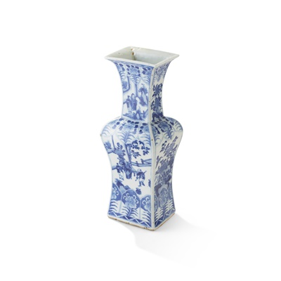 Lot 132 - BLUE AND WHITE SQUARE-SECTIONED VASE
