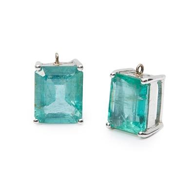 Lot 83 - A pair of emerald pendants
