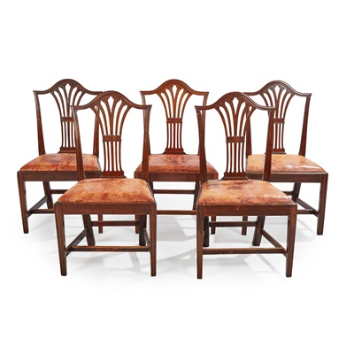 Lot 79 - A SET OF FIVE GEORGIAN STYLE MAHOGANY DINING CHAIRS