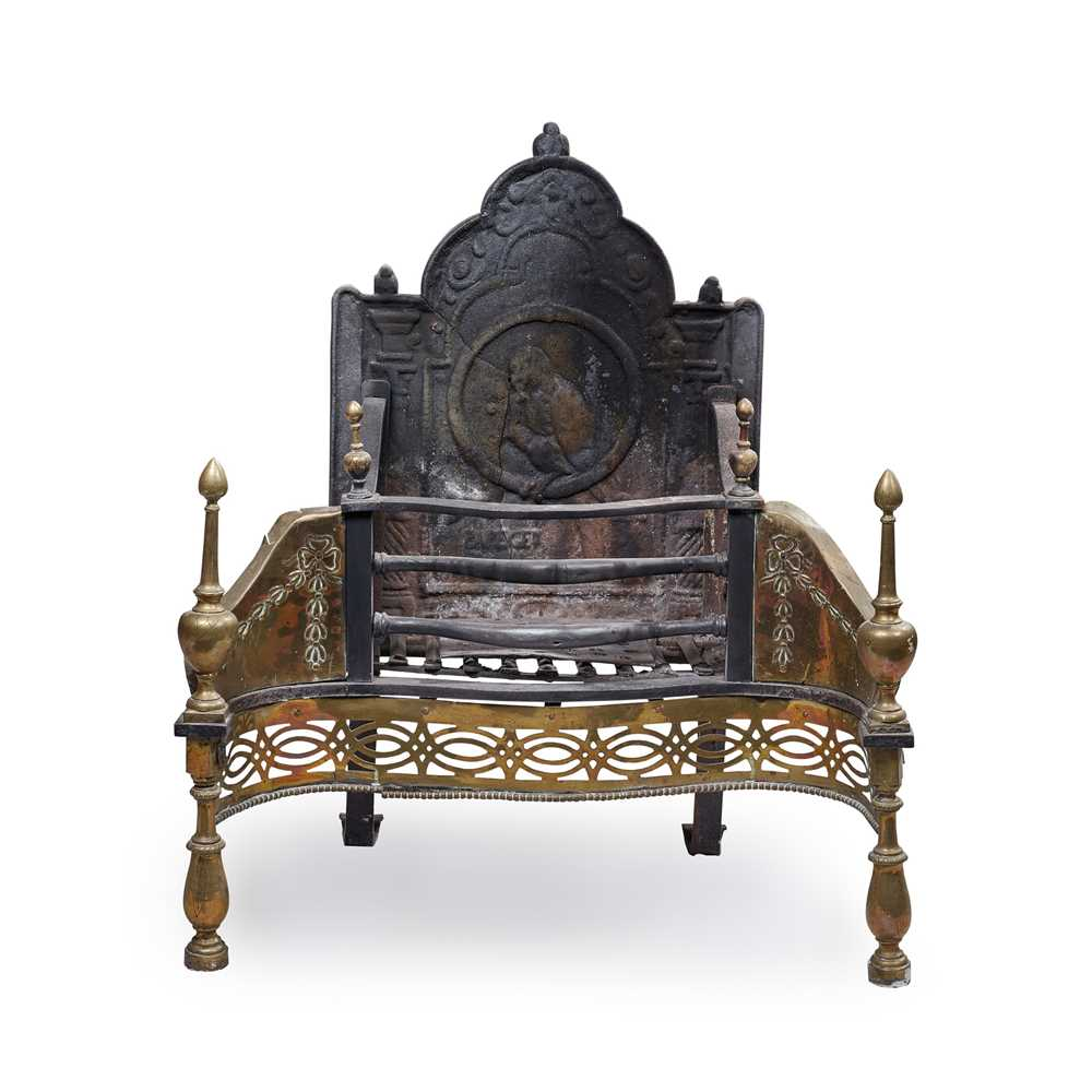Lot 84 - A LATE GEORGE III CAST IRON AND BRASS FIRE GRATE