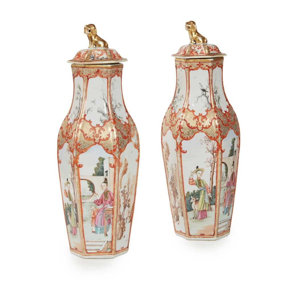 Lot 51 - A PAIR OF CHINESE FAMILLE ROSE PORCELAIN HEXAGONAL COVERED VASES