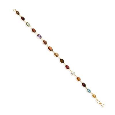 Lot 112 - A multi-gem bracelet and earrings