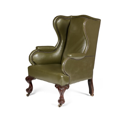 Lot 70 - GEORGIAN STYLE MAHOGANY FRAMED GREEN LEATHER WING ARMCHAIR