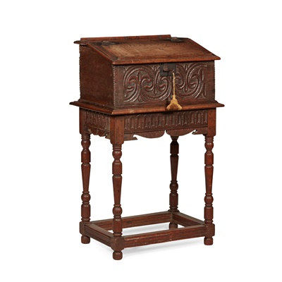 Lot 9 - CARVED OAK BIBLE BOX ON STAND