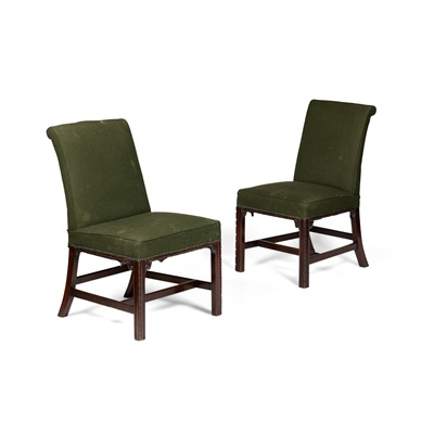 Lot 85 - SET OF FOUR GEORGIAN STYLE MAHOGANY UPHOLSTERED SIDE CHAIRS