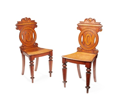 Lot 27 - A PAIR OF VICTORIAN HALL CHAIRS