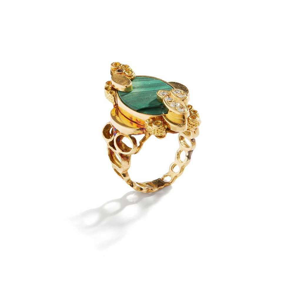 Lot 91 - A malachite and diamond-set ring, circa 1965