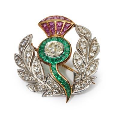 Lot 20 - A multi-gem thistle brooch