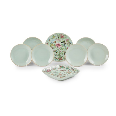 Lot 193 - TWO CANTON FAMILLE ROSE CELADON-GROUND WARES