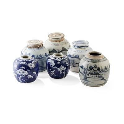 Lot 145 - GROUP OF SIX BLUE AND WHITE GINGER JARS