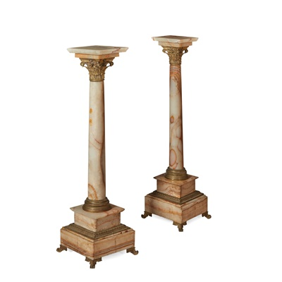 Lot 480 - PAIR OF FRENCH ONYX AND GILT METAL PEDESTALS