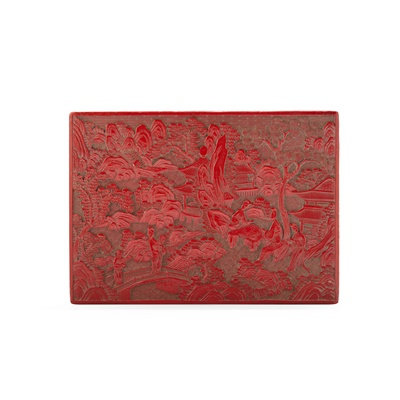 Lot 1 - CARVED CINNABAR LACQUER RECTANGULAR BOX AND COVER