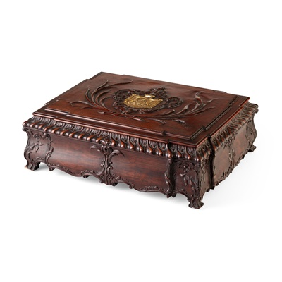 Lot 89 - GEORGE III STYLE MAHOGANY BOX, AFTER A DESIGN BY THOMAS CHIPPENDALE, RETAILED BY H. SAMUEL