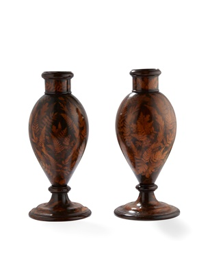 Lot 48 - PAIR OF MAUCHLINE 'FERN WARE' VASES