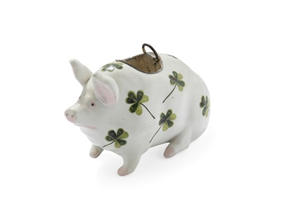 Lot 75 - A RARE WEMYSS WARE PIG/ POSY VASE