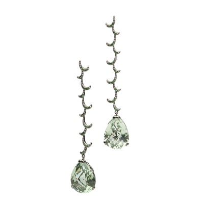 Lot 36 - A pair of prasiolite and diamond pendent earrings