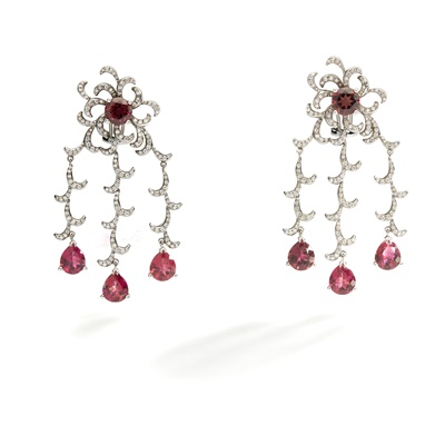 Lot 72 - A pair of pink tourmaline and diamond pendent earrings
