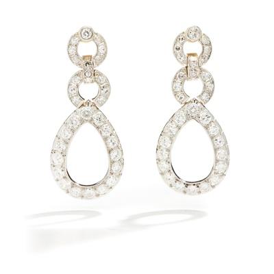 Lot 3 - A pair of diamond pendent earrings, circa 1900