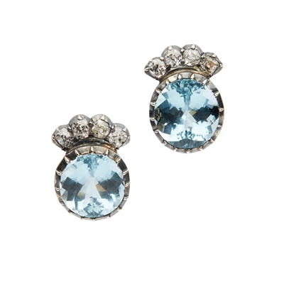 Lot 61 - A pair of aquamarine and diamond earrings