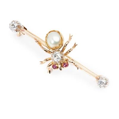 Lot 106 - A diamond and pearl bar brooch
