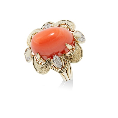 Lot 24 - A mid-20th century coral and diamond cocktail ring