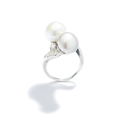 Lot 57 - A mid 20th century pearl and diamond dress ring