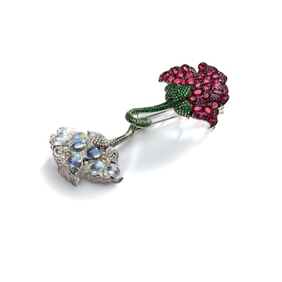 Lot 70 - An impressive gem-set flower brooch, by Fei Liu