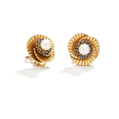 Lot 35 - A pair of sapphire and cultured pearl earrings, circa 1950