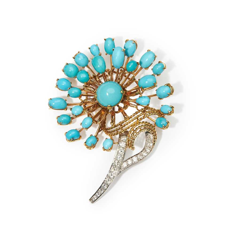 Lot 26 - A turquoise and diamond brooch