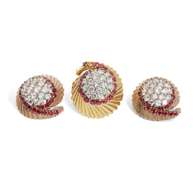 Lot 32 - A mid-century diamond and ruby ring and matching earrings