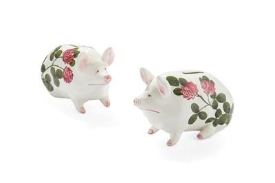 Lot 80 - A PAIR OF WEMYSS WARE 'PLICHTA' MONEYBOX PIGS
