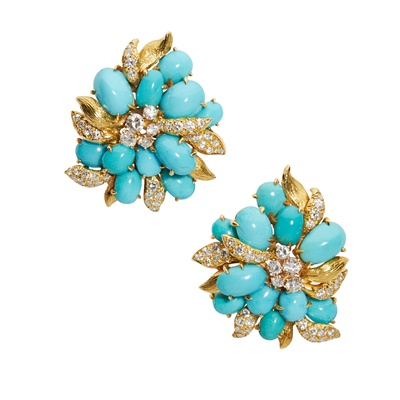 Lot 27 - A pair of turquoise and diamond earrings, by Julius Cohen