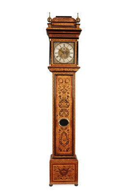 Lot 18 - RARE SCOTTISH EBONY, ROSEWOOD AND ELM MARQUETRY MONTH-GOING LONGCASE CLOCK, ANDREW BROWN [BROUN]