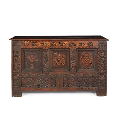 Lot 3 - CARVED OAK AND MARQUETRY MULE CHEST