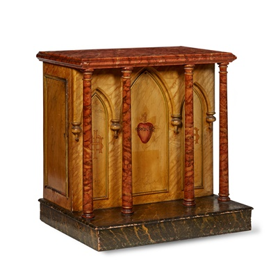Lot 438 - CONTINENTAL PAINTED AND SIMULATED MARBLE ALTAR