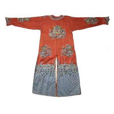 Lot 22 - RED GROUND SILK EMBROIDERED 'DRAGON' ROBE