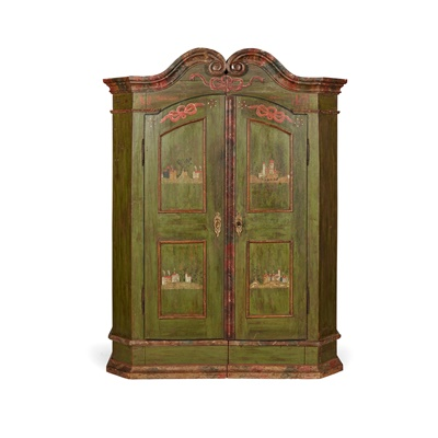 Lot 464 - SOUTH GERMAN GREEN PAINTED AND POLYCHROMED MARRIAGE CUPBOARD