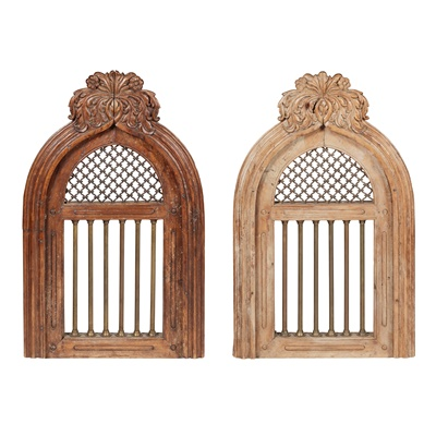 Lot 440 - PAIR OF SPANISH CARVED FRUITWOOD AND IRON WINDOWS