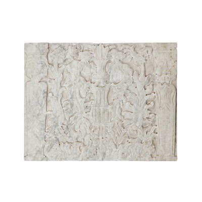Lot 442 - WHITE MARBLE CARVED RELIEF PANEL IN THE MANNERIST STYLE
