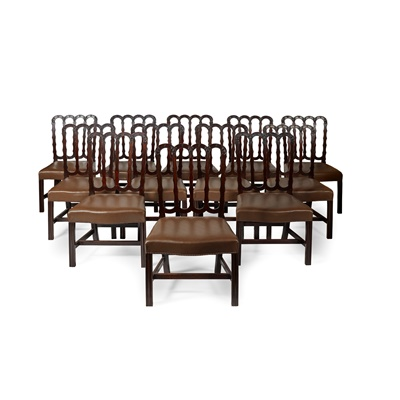 Lot 73 - SET OF FOURTEEN GEORGIAN STYLE MAHOGANY DINING CHAIRS, IN THE MANNER OF ROBERT MANWARING