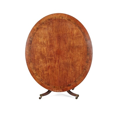 Lot 86 - LATE GEORGIAN MAHOGANY AND ROSEWOOD BANDED OVAL BREAKFAST TABLE