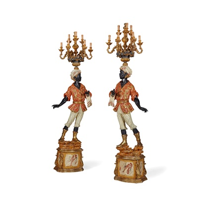 Lot 452 - PAIR OF PAINTED AND POLYCHROMED CARVED WOOD BLACKAMOOR TORCHERES