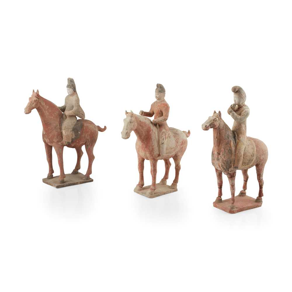 Lot 75 - GROUP OF THREE PAINTED POTTERY HORSES AND RIDERS