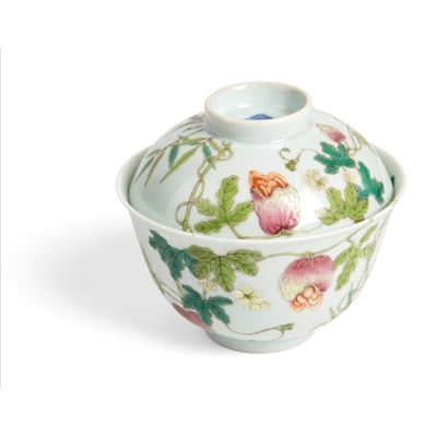 Lot 177 - FAMILLE ROSE TEACUP WITH COVER