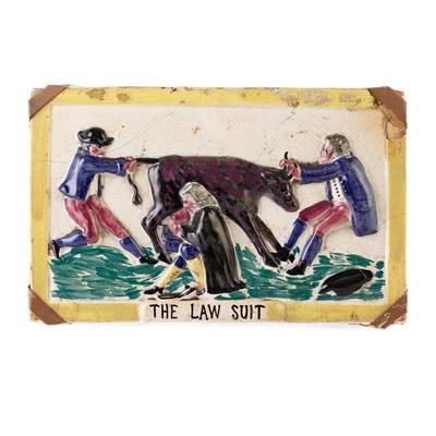 Lot 38 - A SCOTTISH POTTERY PORTOBELLO PLAQUE TITLED 'THE LAW SUIT'