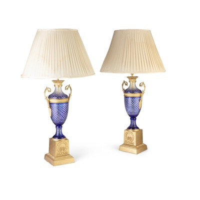 Lot 491 - PAIR OF BOHEMIAN BLUE OVERLAY AND CUT GLASS ORMOLU MOUNTED LAMPS