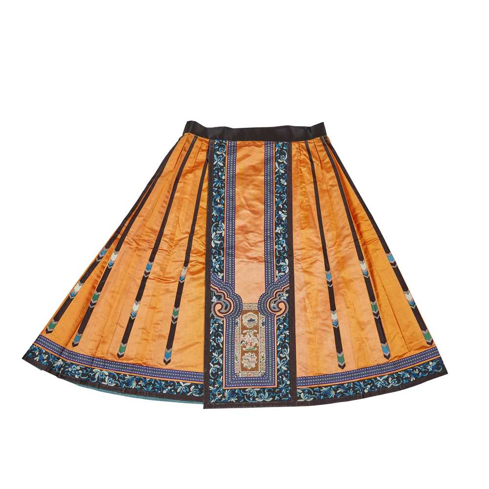 Lot 15 - HAN CHINESE WOMAN'S EMBROIDERED APRICOT SILK PLEATED SKIRT